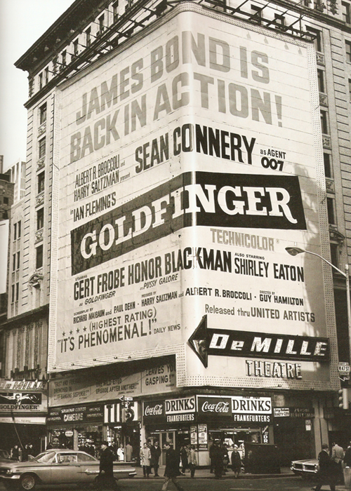 NYC Times Square advertisement for Goldfinger (1964)