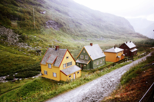 Painted cottages in Myrdal, Norway. Photograph by Clara Örh.