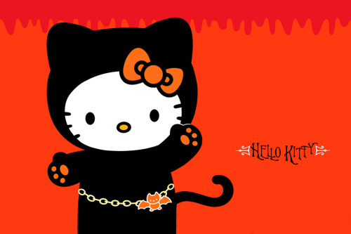 Click & save the Hello Kitty Halloween wallpaper. Dressed as a black cat, of course