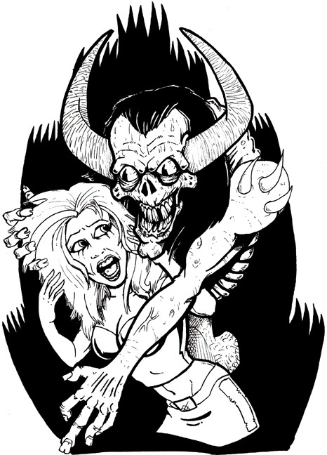 SATAN NEEDS SLUTS (Ink on bristol board)