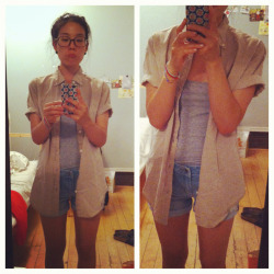 bummy summer outfit.  swiped my bf's button-up. bf's button up - club monaco menswear tank & shorts - forever21