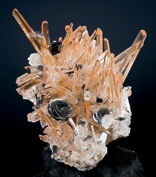 bijoux-et-mineraux:  Hematite colored Quartz with Hematite Rosettes