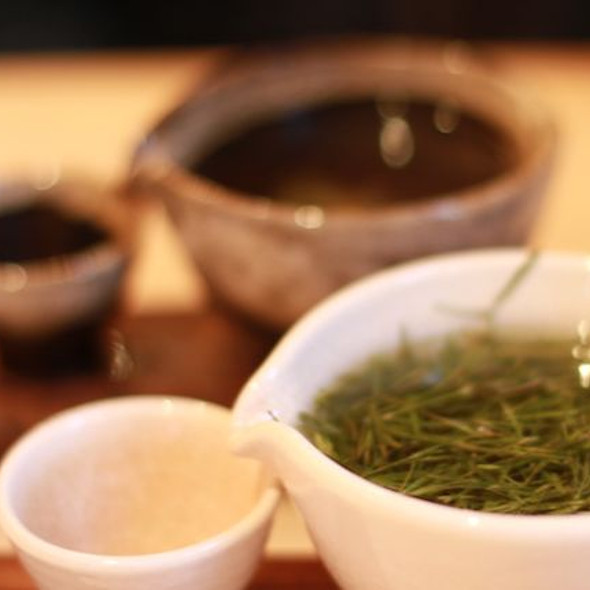 Bamboo Leaf Tea @ SonamuFresh and grassy bamboo leaf #tea. Not mentioned on their photocopied-looking menu, but the waiter told us. Via Foodspotting