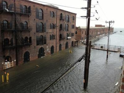 Here we are marooned in Red Hook, Brooklyn! Taken on Van Brunt Street from the Fairway Building lofts looking out at the harbor. (Photo: Nick Cope)