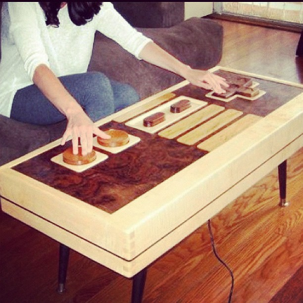 Fully functional NIntendo controller coffee table #gaming #videogames #gamer #nintendo #nes #controller #coffeetable #amazing #cool
