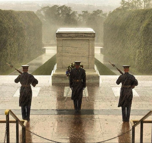 tdnewsdesk:  Even through the storm, an Army honor guard watches over the Tomb of the Unknown Soldier at Arlington National Cemetery in Virginia. (via @hmack3)  While it's a moving photo, it wasn't taken today.