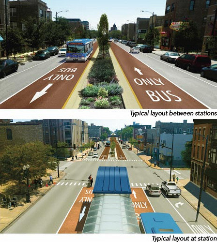 thegreenurbanist:  Center running BRT with travel lane removals. Image from the CTA.  On Grid Chicago  I really like it when buses use the center lanes. Not only does it mean less conflict between buses and cyclists (ESPECIALLY when a bus has to stop IN a bike lane…) but it also means fewer bus shelters to be built! The planters are also a nice touch that should help prevent people from hopping over the barriers.