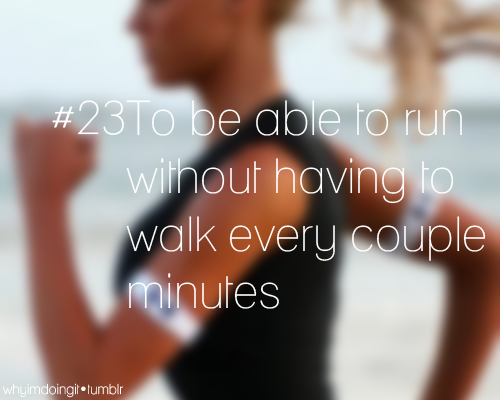 summerskinny25:  When I first started running I could only go about 30 seconds, or 1/8 mile, without having to stop… it was embarrassing! Now I can run 2 miles without stopping and I'm only getting better. You just have to keep trying :)