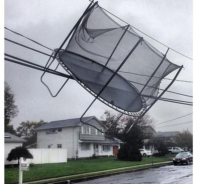 fiction-is-our-lives:  tyleroakley:  Hurricane Sandy has arrived.  Go Home trampoline, you're drunk.