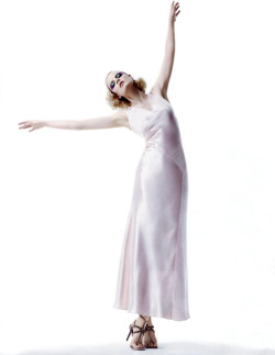 Guinevere van Seenus in silk-satin dress by Ralph Lauren and suede sandals by Valentino, photographed by Willy Vanderperre for Vogue India May 2012.