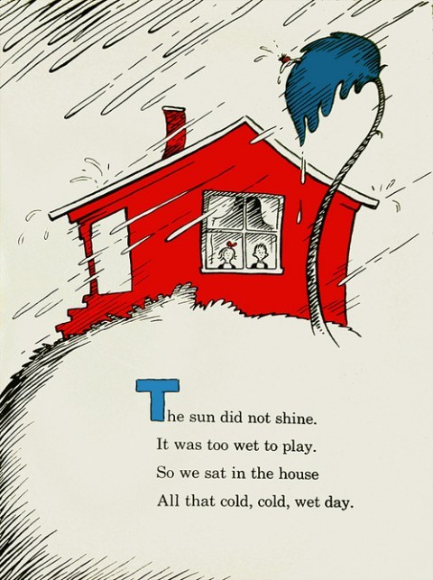 Dr. Seuss. Waiting for the power to go out but may be we'll be lucky. State of Emergency called in my town and wind really picking up - and we aren't even near the water like so many of my NYC friends. Seen at Swiss Miss here. EDIT: power out, winds greater than expected - but nothing like what I've heard and seen from friends elsewhere!