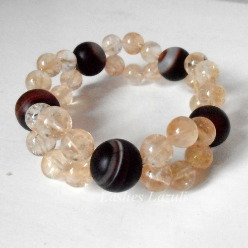 Citrine Quartz & Smooth Agate Bracelet