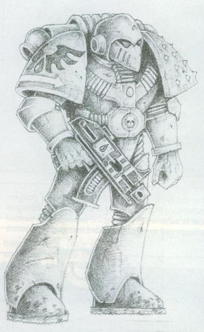 Interior illo, Space Marine Painting Guide. Jez Goodwin, c. 1989.
