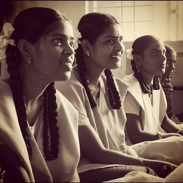 High School Girls (Leica DL5 w/IG EB) #100cameras #ngo  #004India #humanitarian #LeicaCameras #portraits #tamilnadu #Madurai #India (at Nallamani High School, India)