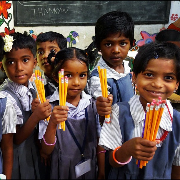 Pencil Power (Leica DL5 w/IG Lo-fi) #100cameras #NGO #004India #Madurai #LeicaCameras #portraits #RussFoundation #pencils #India #tamilnadu #children (at Carlsson Primary School)