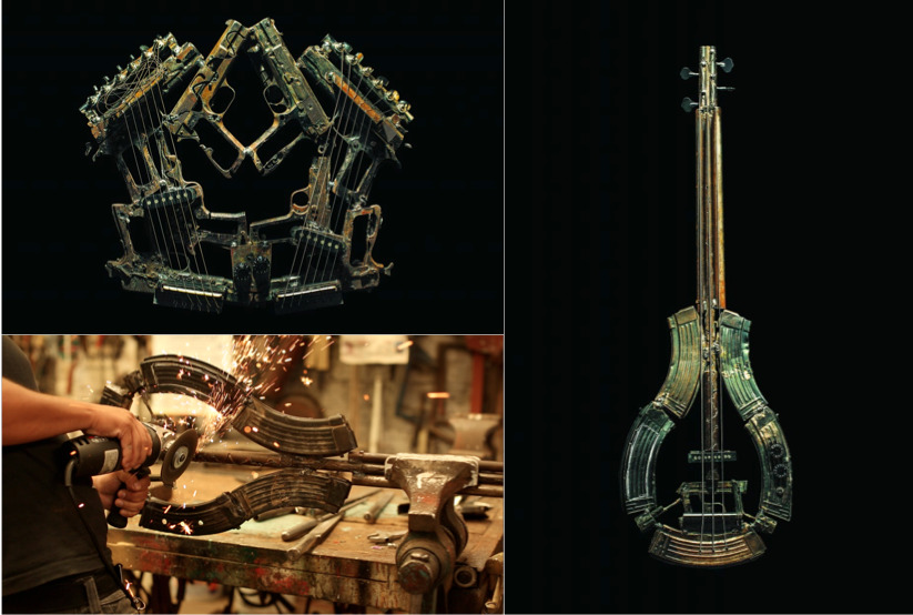 imagine. pedro reyes and others fabricated 50 musical instruments from 6700 lethal weapons recovered in ciudad juarez. #makeartnotwar (posted by J) (source: colossal)