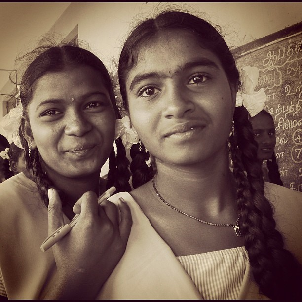 Students (Leica DL5 w/IG EB) #100cameras #004India #RussFoundation #NGO #LeicaCameras #portraits #humanitarian #travel #girls #tamilnadu #Madurai #India  (at Nallamani High School, India)
