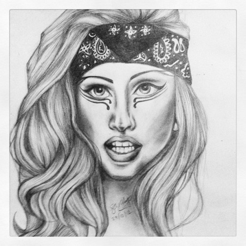 Just wanted to share my drawing I've finally completed of Lady Gaga in her Judas video, hope you all like! Love Sarah xo
