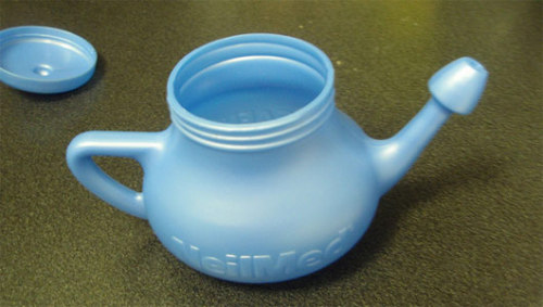 mothernaturenetwork:  'Brain-eating amoeba' infections prompt neti pot warningSalt used in the neti pots doesn't kill the Naegleria fowleri amoebas, and so the CDC recommends boiling water prior to use.  This seems important.