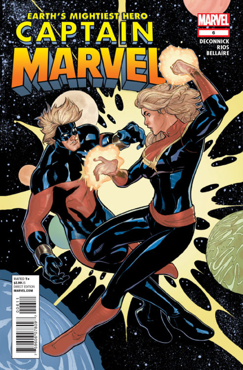 Market Monday Captain Marvel #6, written by Kelly Sue DeConnick, art by Emma Rios, colored by Jordie Bellaire  A battle through time! The shocking conclusion! Guest appearance by the classic Captain Marvel, Mar-Vell! And an All-New Captain Marvel?!  ~Preview~