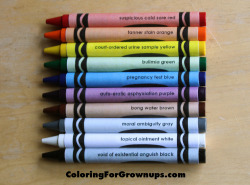 coloringforgrownups:  Coloring for Grown-ups is in stores now!And we're doing a giveaway to celebrate. Here's what you can win: A limited edition pack of Crayons for Grown-Ups (pictured) - only 20 in existence(!)  One FREE copy of Coloring for Grown-Ups SIGNED by its author/illustrators, Ryan Hunter & Taige Jensen! Your Facebook profile picture (or a photo of your choice) drawn in coloring book form by Ryan & Taige! And all you have to do is REBLOG THIS POST and DON'T ERASE ANY TEXT.The contest will run until December 1st, at which point we'll randomly select 2 winners who reblogged THIS POST on Tumblr and 2 winners who shared it on Facebook. You read correctly: THAT'S FOUR CHANCES TO WIN! So click REBLOG now and begin your Coloring for Grown-Ups adventure in (maybe) winning things!   Want.