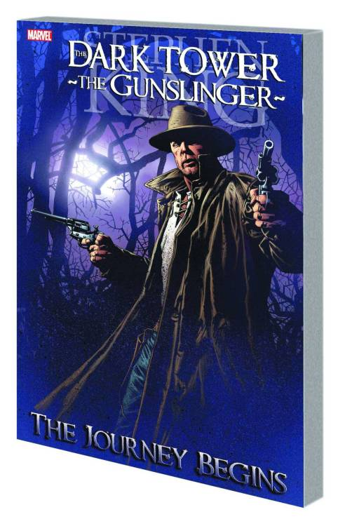 Market Monday The Dark Tower: The Gunslinger - The Journey Begins TP, co-written by Robin Furth  Stephen King's Dark Tower saga has riveted readers for decades. Now, Roland Deschain's early tales are told for the first time as one of literature's greatest characters is given new life on the comics page! The Barony of Gilead has fallen to the forces of the evil John Farson, as the Gunslingers are massacred at the Battle of Jericho Hill. But one Gunslinger rises from the ashes: Roland Deschain. Now the last of the Gunslingers, Roland sets out in search of the mysterious Dark Tower - the one place where he can set his out-of-synch world right. Along the way, Roland will battle the Not-Men, the Slow Mutants and more as he trails the Man in Black, the sorcerer who holds the key to finding the Dark Tower. Collecting DARK TOWER: THE GUNSLINGER - THE JOURNEY BEGINS #1-5.