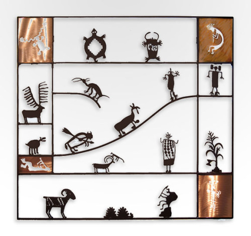 "Petroglyph Screen with Copper 31"" x 33"" by Doug Weigel steel sculpture with patinawww.wildemeyer.com/doug-weigel/"