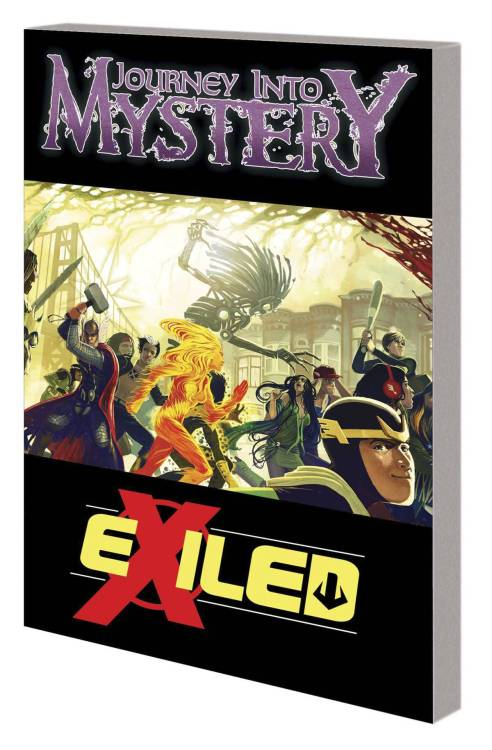 Market Monday Journey into Mystery/New Mutants: Exiled TP, cover by Stephanie Hans  The New Mutants crash headlong into the pages of JOURNEY INTO MYSTERY when a forgotten hero returns! He's mightier than Thor himself, but will the truth behind his exile consume them all? Gods are made mortal, with mutants their only hope for survival! Undead cannibals are on the loose, and San Francisco turned inside out by forbidden magic! A thrilling mythological mystery adventure in the Mighty Marvel manner! Collecting EXILED #1, NEW MUTANTS #42-43 & JOURNEY INTO MYSTERY #637-638.