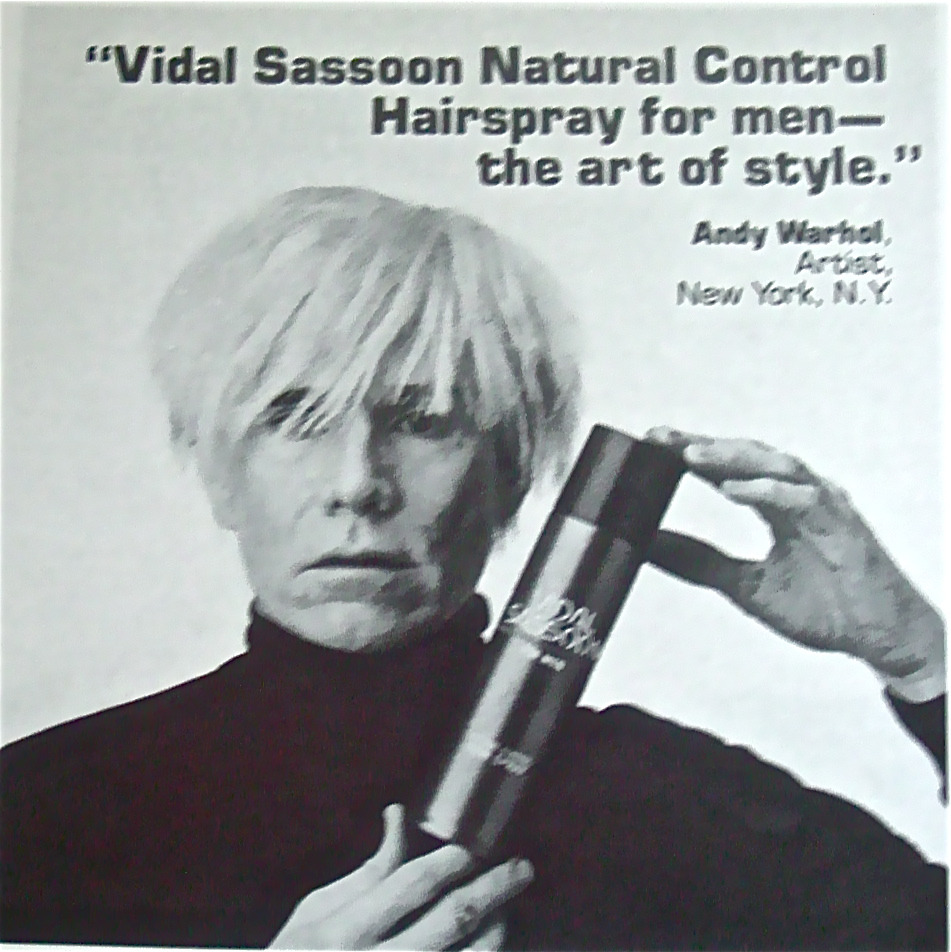 Andy Warhol in Vidal Sassoon ad, 1980's