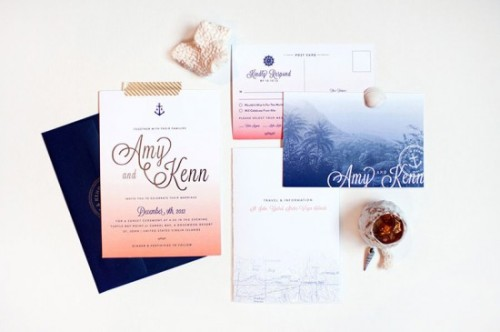 Gorgeous nautical themed wedding invitation set!