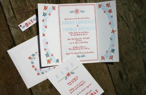 Hand crafted Austrian wedding invitation set