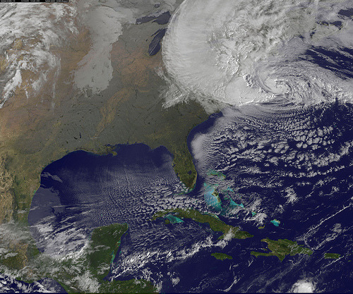 geologise:   Satellite View of Hurricane Sandy on Oct. 29 by NASA Goddard Photo and Video  NOAA's GOES-13 satellite captured this visible image of Hurricane Sandy battering the U.S. East coast on Monday, Oct. 29 at 9:10 a.m. EDT. At 8 a.m. EDT the National Hurricane Center noted that the center of Hurricane Sandy was located near latitude 36.8 north and longitude 71.1 west. This was about 310 miles (505 km) south-southeast of New York City, and 265 miles (425 km) southeast of Atlantic City, N.J. Sandy was moving north-northwest at 20 mph. Maximum sustained winds are now near 85 mph (140 kph). Tropical Storm force winds extend almost 500 miles from the center, making those winds 1,000 miles in diameter. The image was created by the NASA GOES Project at NASA's Goddard Space Flight Center, Greenbelt, Md.  View larger photo here. Credit: NASA GOES Project Text: NASA/Rob Gutro For the latest info from NASA on Hurricane Sandy go to: 1.usa.gov/Ti5SgS