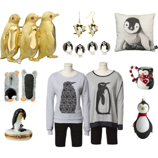 Animal Spirit: The Penguin By Jauretsi This Holiday season, we look to the Penguin as our animal spirit to observe. Luckily eBay's Holiday Collection offers just that. But first, what is an animal totem? They are animals that appear in your life (whether its on TV, or a strangers clothing, or in the wild). Animal spirits choose their owner, and offer spiritual guidance if we understand their instinctual behaviors and natural habitats. The penguin is a powerful symbol to have in your life representing respect, love and strength in character. Their black and white uniform suggests formality which lends to their leadership qualities. Because they move swiftly from water to land, it is believed that the penguin totem teaches connection between the physical and the spiritual. If you find yourself surrounded by penguin reminders in your day, you may be blessed with lucid dreaming or astral projecting.  [MORE] If you find yourself drawn to this animal, it is advised to surround yourself with little visual reminders. Tibi, one of eBay's seven Holiday Collection Designers created some cozy wintery penguin sweaters in her collection available November 12, 2012. Tibi's penguin inspired collection normally sells for $375 retail, but eBay's limited edition series of Tibi penguin sweaters will cost you only $75. Inspiration from other retailers include christmas ornaments, slippers, broaches, or pillows. Embrace the regal penguin, and he'll take care of you in return.  Penguin Love - including eBay Holiday Collection 2012 by jauretsi featuring logos jewelry - Dunlop slip on shoes, $24 / Diamond jewelry / Logos jewelry / Studded jewelry / By Nord Baby Penguin Cushion, $57 / Penguin w/ Baby Limoges Box / Pier One European Penguin Ornament / Pier One Holiday Penguin Mug / eBay Holiday Collective 2012 (available Nov 12, 2012) / eBay Holiday Collective 2012 (available Nov 12, 2012)
