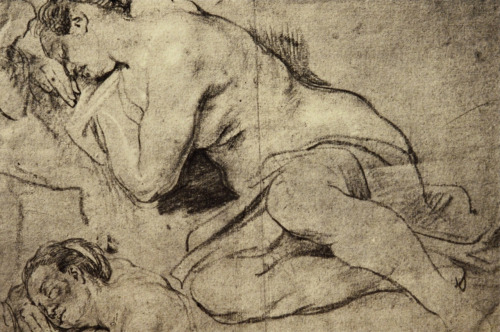 Anthony van Dyck (1599-1641), Studies of a Woman Sleeping. Black chalk heightened with white, retouched with red chalk, 31.0 c 37.8 cm (12 1/4 x 14 7/8 in).