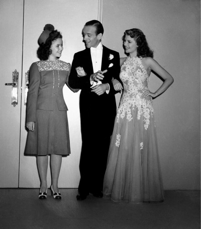 Shirley Temple visits Fred Astaire and Rita Hayworth on the set of You Were Never Lovelier (1942).