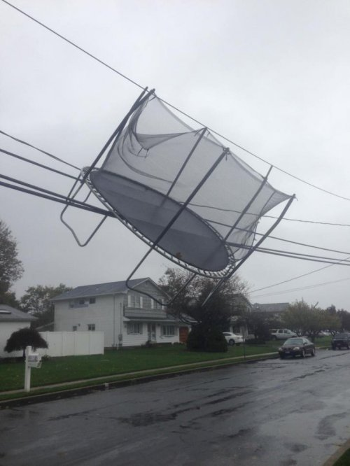 collegehumor:  Hurricane Sandy Takes Out a Trampoline Keep jumping kids, a little rain never did anybody no harm.