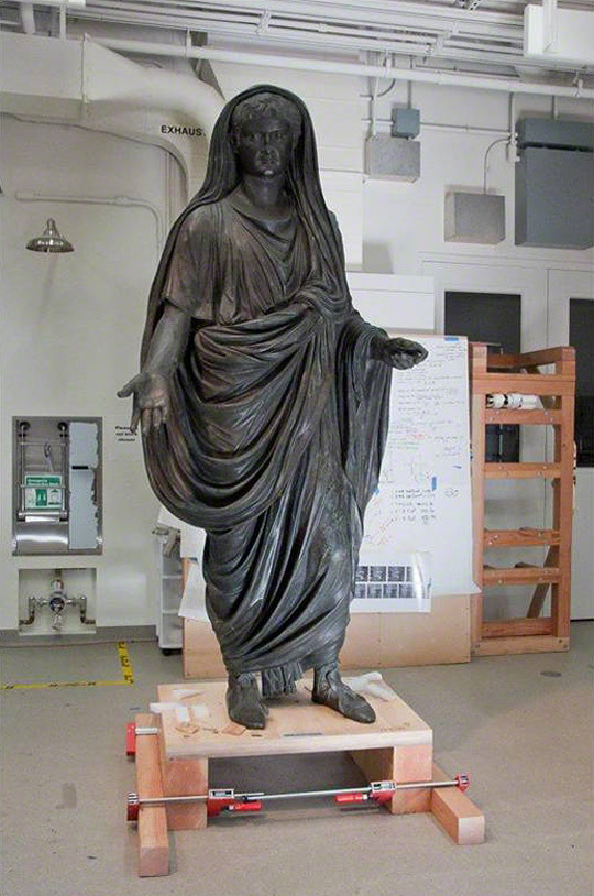 archaeology:  A Roman Emperor Sojourns at the Getty Villa Tiberius has now come to the Pacific Palisades—in the form of a huge bronze portrait statue, over two meters high. The statue is a new loan from the National Archaeological Museum in Naples (Museo Archeologico Nazionale di Napoli), and its arrival marks another chapter in our ongoing collaboration with our colleagues in Naples. Last year we displayed the bronze Apollo Saettante in a special exhibition, Apollo from Pompeii: Investigating an Ancient Bronze. The Apollo had been off display for a number years, and we worked with Naples to investigate and conserve the statue (and it's now back on view in Naples). The Tiberius presents a similar project—he too has been off view, and one of our primary tasks will be to stabilize the statue for future exhibition. In doing so, we have another rare opportunity to investigate an ancient bronze, and to explore both how it was made in antiquity and what has happened to it since. The results will be presented in an exhibition at the Getty Villa next year.
