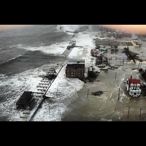 thedailywhat:  Atlantic City Hurricane Pic of the Day: The boardwalk is more or less underwater. [nationalhurricaneupdates]  This is heartbreaking. Praying for all our friends on the east coast. Stay safe!!