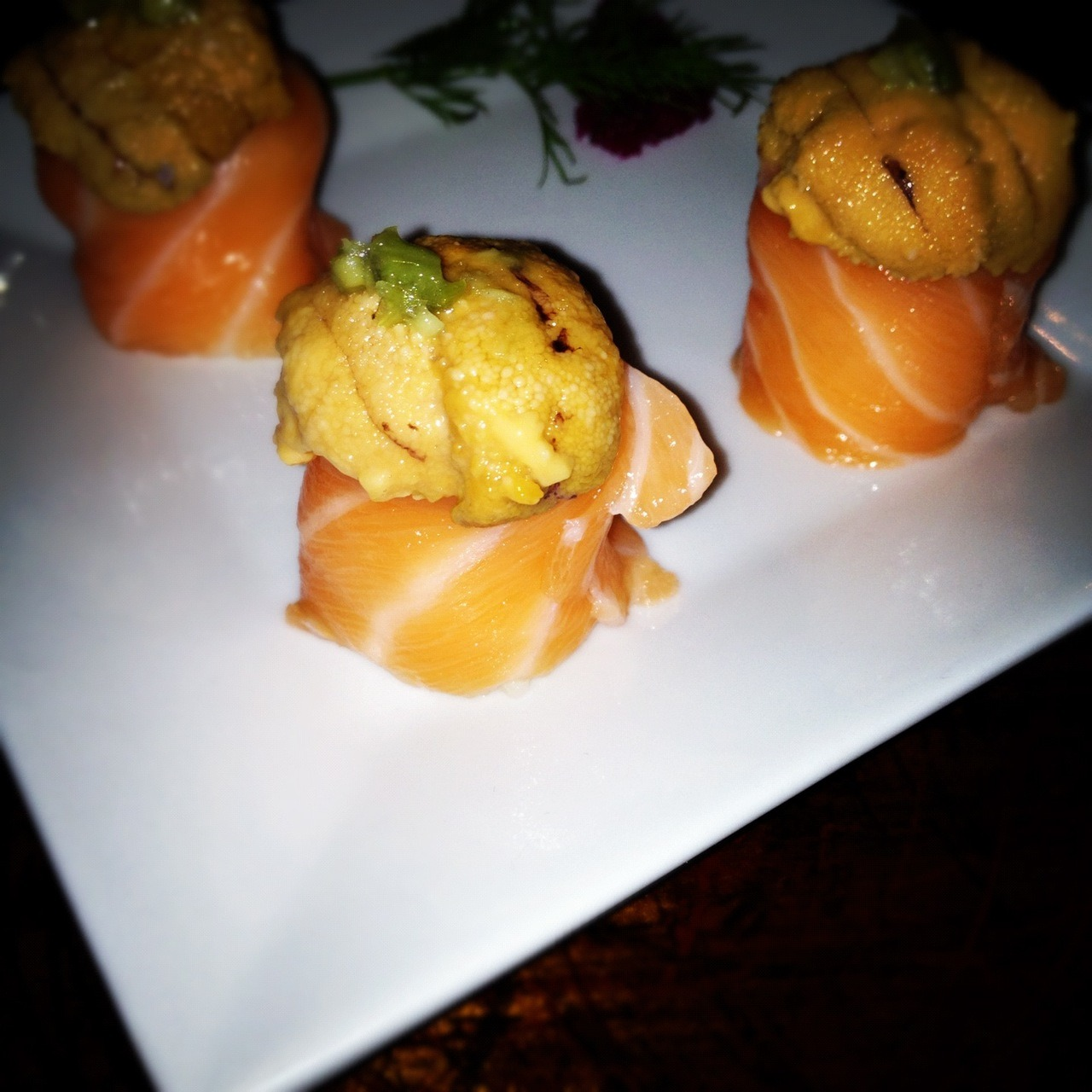 Salmon topped with Uni!!! at Bozu, Williamsburg.