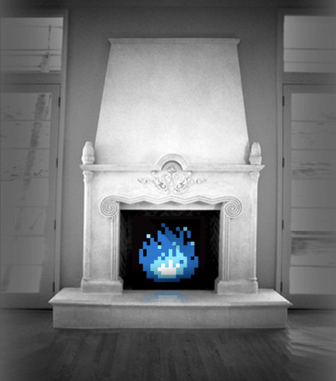 "it8bit:  8-Bit Fireplace Printed directly onto durable poly-cotton stretched canvas, any size is available up to 24"" x 24"". Just measure your space and let us know! Extra large canvases are also available.  Available @James Bit (submitted by jollybyebye)"