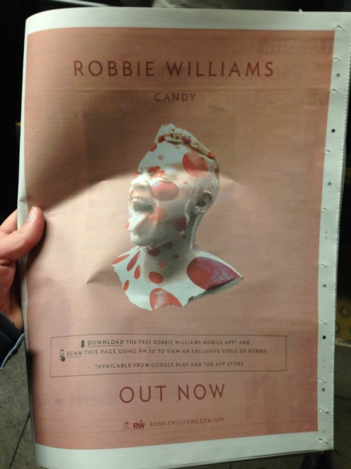 Robbie Williams App getting the full-page treatment in a UK paper