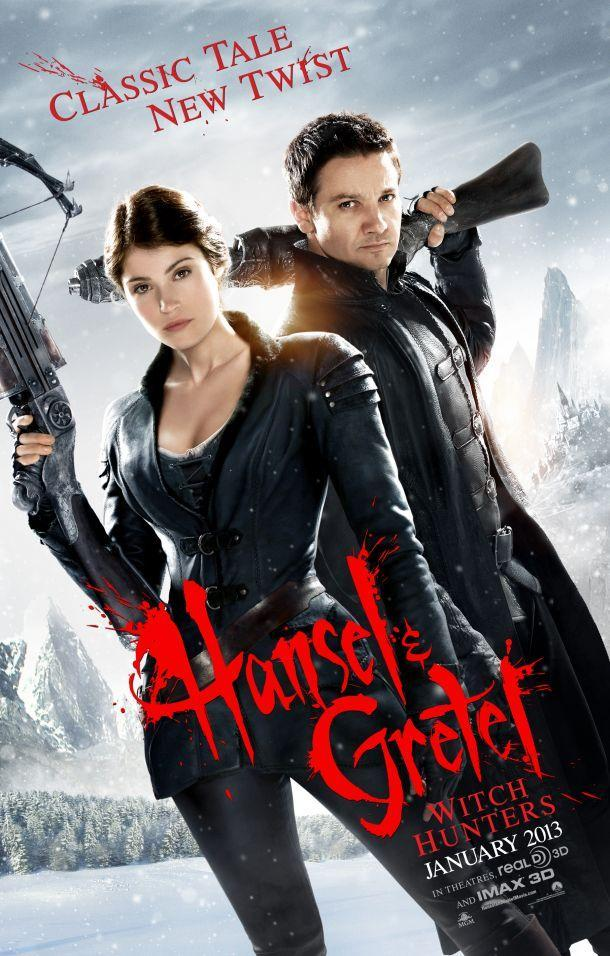 Poster for the much delayed, HANSEL & GRETEL: WITCH HUNTERS 3D , set for a  January 25th, 2013 release. Fifteen years after their traumatic gingerbread-house incident, siblings Hansel and Gretel have become a formidable team of bounty hunters who track and kill witches all over the world. The Movie stars Jeremy Renner (Avengers) as Hansel  and Gemma Arterton (Quantum of Solace) as Gretel .