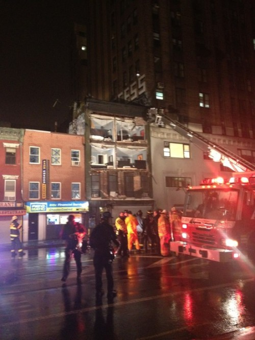 "megsokay:  patbaer:  ""Front of entire building GONE at 8th Ave between 14th and 15th"" photo by (@MegRobertson)  If life was an episode of Supernatural, Hurricane Sandy would be the soul of a 19th century immigrant girl in NYC who died working in a Satanist's shirtwaist factory, but who also was a dollhouse enthusiast with no friends. ""PLAY WITH ME."" ALSO EVERYONE BE SAFE!  The solution to this problem would then also be a combination of salt and manpain. I just don't see that working out so well."