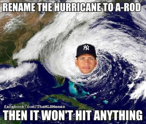 bleacherreport:  If only Hurricane Sandy was named A-Rod… Stay safe out there everyone! h/t MLB Memes