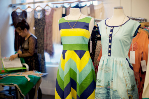 modcloth:  Two pretty dresses at the Knitted Dove showroom, coming to ModCloth for Spring 2013!