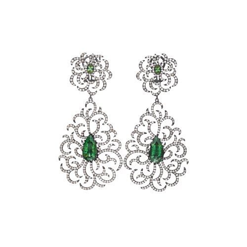 Diamond and Green Tourmaline Earrings