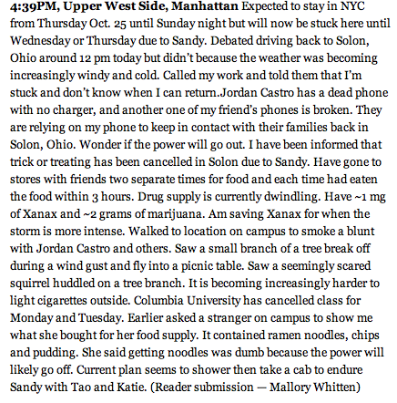 malloryannwhitten:  VIA THOUGHT CATALOG LIVE BLOG ON HURRICANE SANDY