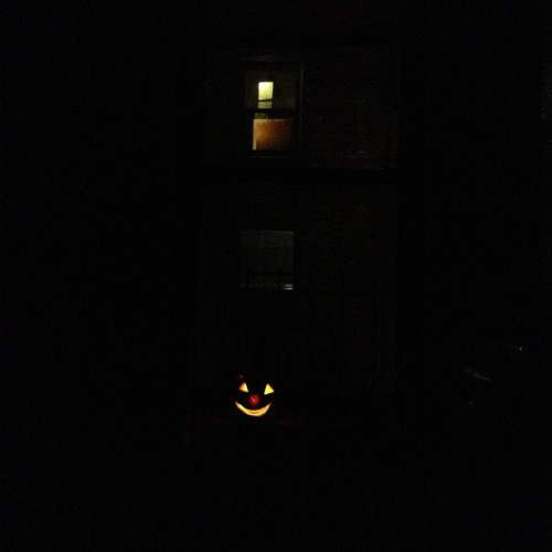 Now, with a glowier nose. #halloween #nyc #pumpkin #lol #manhattan #sandy #2012
