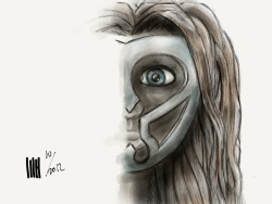 Half female savage with mask. High paced sketch made on ipad using paper app by 53. Visit my new site www.dutch-designs.eu