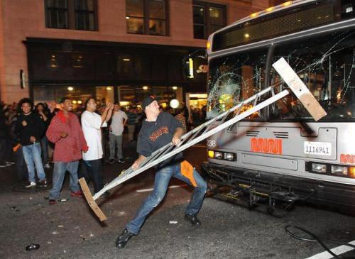 a brave giants fan protects crowd from bus out for blood…